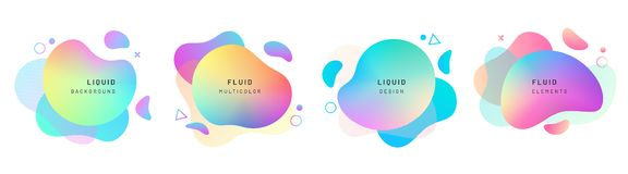 Set of isolated abstract liquid shapes, dynamic. Set of isolated abstract liquid shapes. Elements for gradient fluid design. Background with dynamic forms and vector illustration