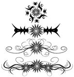 Set of isolated Abstract tattoos with flowers Royalty Free Stock Photos