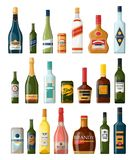 Set of isolated alcohol or booze bottles. Beverage. Set of isolated alcohol bottles, booze or beverage, drinks in glassware can. Lager beer and vodka, cognac and vector illustration