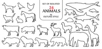 Set of isolated 24 animals illustration in double black outline Royalty Free Stock Images