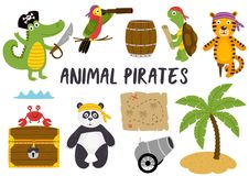 Set of isolated animals pirates and other elements part 1 Royalty Free Stock Photography