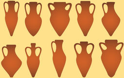 Set isolated antique amphora Royalty Free Stock Image