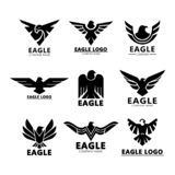 Black eagles silhouette for company branding. Set of isolated aquila eagles silhouette for company advertising or roman signs for branding, head and wings of royalty free illustration