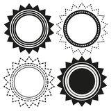Set of 4 isolated badges in shapes of sun Royalty Free Stock Photography
