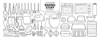 Set of isolated baking stuff in 55 pieces. Cute hand drawn kitch. En tools vector illustration in black outline and white plane on white background stock illustration