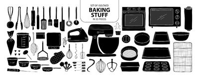 Set of isolated baking stuff in 55 pieces. Cute hand drawn kitch Royalty Free Stock Image
