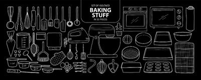 Set of isolated baking stuff in 55 pieces. Cute hand drawn kitch Royalty Free Stock Images