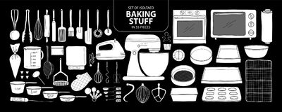 Set of isolated baking stuff in 55 pieces. Cute hand drawn kitch Royalty Free Stock Photography