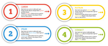 Set of 4 isolated banners in different colors - 4 step infograph Royalty Free Stock Photos