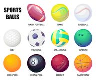 Balls for rugby and baseball, basketball and soccer. Set of isolated banners for indoor sports or outdoor games. Accessories or equipment for basketball or Royalty Free Stock Image