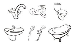 Set of isolated bathroom devices, taps, shower Stock Photos