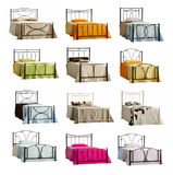 Set of isolated beds. With different colored sheets isolated on white background vector illustration