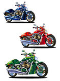 Set of isolated bikes (green, blue and red) Stock Images