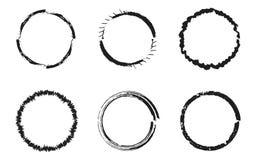 Set of black grunge circles, round frames stock illustration
