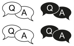 Set of 4 isolated black and white bubbles with question and answ. Er icon, usufull for apps, forums, corporate sites, etc Stock Photo