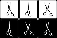 Set of isolated black and white scissors Stock Image
