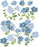 Set of isolated blue colors, elements and bouquets. Stock Photo