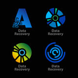 Set of isolated blue and green data recovery Stock Photography