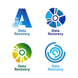 Set of isolated blue and green data recovery Stock Photos
