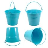 Set isolated blue metal bucket with handle Stock Image