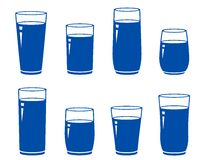 Set of isolated blue water glass Stock Photo
