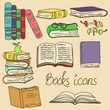 Set of isolated books icons stock illustration