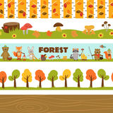Set of isolated borders forest Royalty Free Stock Images