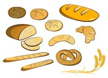 Set of isolated bread, bun, backed goods Royalty Free Stock Images