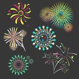 Set of isolated brightly celebration firework. On dark background vector illustration Stock Photo