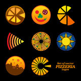 Set of isolated brown and orange round pizzeria Royalty Free Stock Image