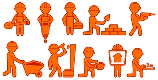 Set isolated builders with helmet and tools Stock Image