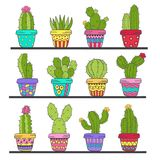 Set of isolated cactus in pots on shelf Stock Image