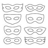 Set of isolated carnival masks. Festive masks silhouette in black on a white background Stock Image
