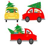 Set of isolated cars carrying a Christmas tree. The machine gives a Christmas tree to decorate the house. Colorful vector illustra Royalty Free Stock Photo