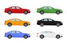 Set of isolated cars of different colors Stock Image