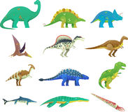 Set of isolated cartoon dinosaur or dino Royalty Free Stock Images