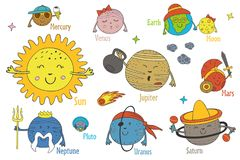 Set of isolated cartoon funny planets of the solar system. Nset of isolated cartoon funny planets of the solar system - vector illustration, epsn Stock Photo