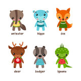 Set of isolated cartoon kid of animals. Cartoon smiling animal characters. Funny isolated children of iguana or guana and deer, badger and fox, hippo or Stock Photo