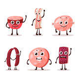 Set of isolated cartoon meat characters. Fat or lard, steak meat snack and frankfurt sausage, beef and wurst, salami cartoon meat character.For shop or store Royalty Free Stock Photos