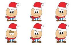 Set of 6 isolated cartoon Santa Claus emoticons - faces with xma. Set of 6 isolated cartoon Santa Claus emoticons - faces with red hat and scarf, christmas vector illustration
