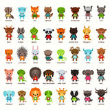 Set of isolated cartoon smiling baby animals. Set of cartoon animals. Anteater and hippo, fox and squirrel, frog and bear, zebra and deer, badger and iguana Royalty Free Stock Photo