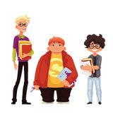 Set of isolated cartoon style nerds school boys Royalty Free Stock Photography