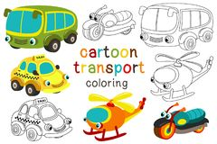 Set of isolated cartoon transport with eyes part 3 vector illustration