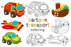 Set of isolated cartoon transport with eyes part 1. Vector illustration, eps Royalty Free Stock Images
