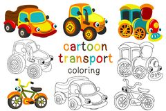 Set of isolated cartoon transport with eyes part 2 Royalty Free Stock Photos