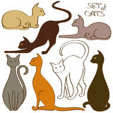 Set of isolated cat icons Royalty Free Stock Image