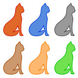 Set isolated cat silhouette Stock Photography