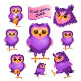Set of 8 isolated characters of owl. Vector illustration of different emotions of an owl Royalty Free Stock Photos