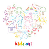 Set of isolated child drawings Royalty Free Stock Image