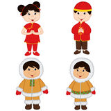 Set of isolated children of Chinese and Eskimo nationalities. Vector illustration, eps Stock Photography